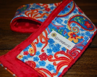 25% off with coupon code!  Monogrammed SLR or DSLR Camera Strap Cover- lens cap pocket, padding- Red and blue paisley with minky
