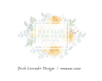 Custom Logo Design Premade Logo Design and Watermark for Photographers and Small Businesses Hand Drawn Watercolor  Floral Classic Vintage