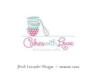 Custom Logo Design Premade Logo and Watermark for Photographers and Small Crafty Boutiques Hand Drawn Bakery Logo with Whisk
