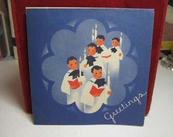 Colorful art deco 1930's-40's christmas card choir boys walking and holding candles