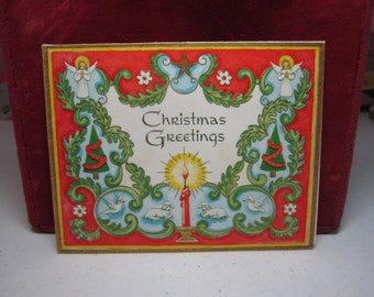 """Colorful gold gilded 1950's Gibson """"Christmas Fantasies"""" christmas card graphics of angels, lambs, doves, christmas trees, candles,stars"""