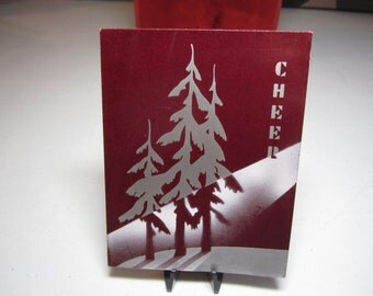 Art deco 1930's christmas card burgundy red shiny paper with silver gilded trees