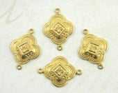 Raw Brass Art Deco Connector, Art Deco link, Brass Connector, Brass Stamping 15mm x 23mm - 4 pcs. (r199)