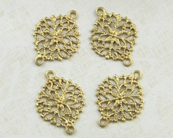 Brass Connector, Filigree Connector, Floral Connector, Filigree Setting, Brass link, 13mm x 17mm - 4 pcs. (r179)