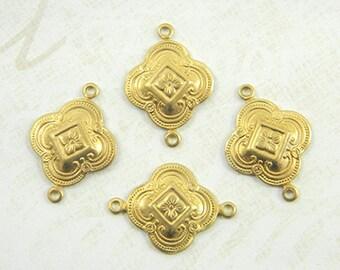 Raw Brass Connector, Art Deco Connector, Brass link, Brass Connector, Brass Stamping, 15mm x 23mm - 4 pcs. (r199)