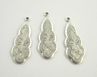 Floral Charm, Antiqued Silver Charm, Brass Stamping, Earring Dangle 11mm x 27mm - 6 pcs. (sl196)
