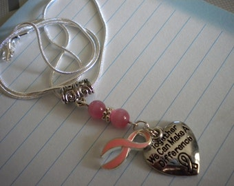Breast Cancer Awareness Necklace  - 18 Inch  Pink Ribbon or Survivor Ribbon