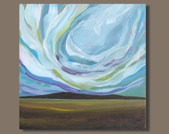 semi abstract painting, painting landscape, small wall art, 10x10, small painting, landscape, prairies, impressionism, clouds, big sky