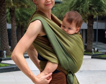 SALE -50! Handwoven baby wrap - sling wrap - infant&toddler baby carrier -  green stripes pattern - cotton - Forest Suite BaBy SaBye