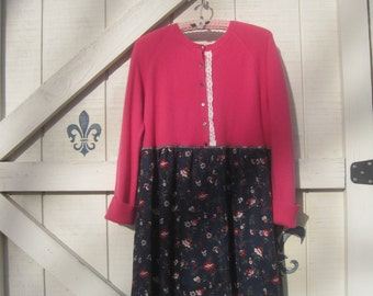 Cashmere tunic dress, Hooded sweater, mini hooded, M-L, eco fashion, Floral tunic dress, Rustic sweater, pink blue,