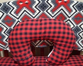 Ready to Ship: Woodland Aztec or Lodge, Lumberjack  Red Black Buffalo Check and Minky Dot Boppy Cover