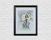 Gift for Mom, Whimsical Art, Rockabilly Pin Up Watercolor Print, Witch Art, Bedroom Art, Office Art, Wall Art, Home Decor