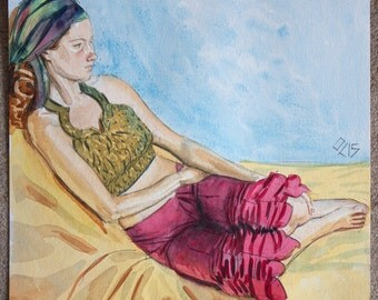 Seated Female Costume Dancer Original Watercolor Watercolour