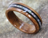 Rhodesian Teak Ring featuring Grenadilla and Mother of Pearl Inlay - Bentwood Ring - And We Plant A Tree:)