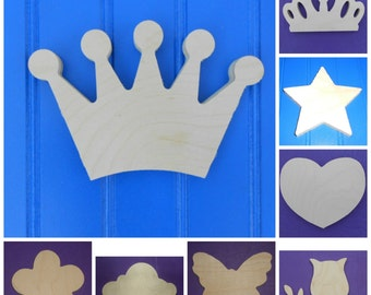 """Wood Shapes - 6"""" Size - Fairy Tale -Unpainted Wooden - Wall Hanging Decor - Kids Craft - DIY Project - Multiple Options"""