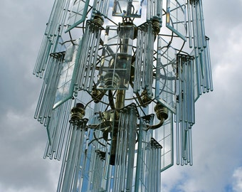Vintage Glass Chandelier 80's Glass Rod and Beveled Panel tiered hanging light Sciolari influenced