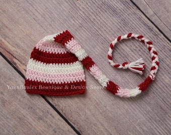 Newborn Striped Valentine Elfin Hat - Ready to Ship - Photo Prop