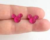 Small Mickey Crystal Studs,Hot Pink, Pink, Mickey Ears, Mickey Earrings, Resin