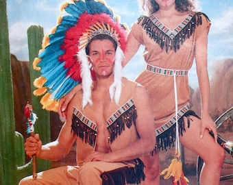 """Butterick Costume Pattern No 6853 UNCUT Vintage 1980s Mens Womens All Sizes Included Bust 30"""" to 48"""" Native American Indian Halloween"""