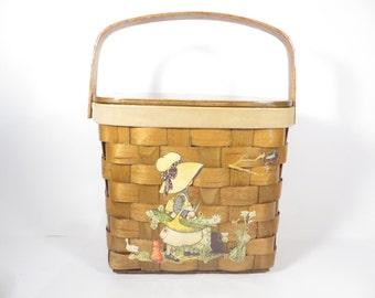 Vintage Holly Hobby Wood Basket Handbag - Wood Basket Purse