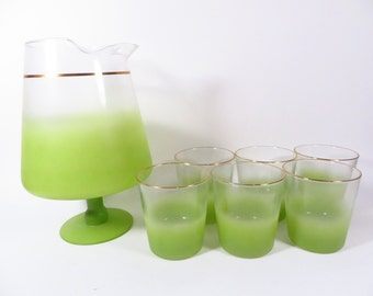 Mid Century Chartreuse Blendo Pitcher and Glasses - Beautiful Faded Lime Green Glass Pitcher and Tumblers