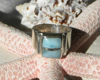 Larimar Ring Handmade Ring Natural Dominican Larimar Ring Blue Gemstone Sterling Silver Ring Size 10 1/4 Take 20% Off Blue Larimar Jewelry