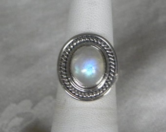 Moonstone Ring Handmade Ring Blue Flash 11x9mm Semiprecious Gemstone Ring Sterling Silver Ring Size 6 Take 20% Off Blue Moonstone Jewelry