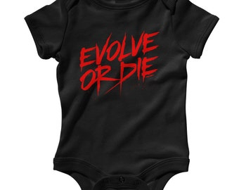 Baby One Piece - Evolve or Die - Infant Romper - NB 6m 12m 18m 24m - Baby Shower Gift, Evolution, Horror, Street Art, Graffiti - 4 Colors