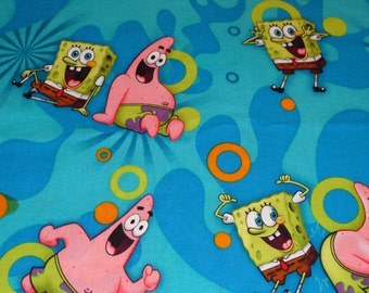 Spongebob Square pants Toddler fitted Sheet with Patrick and standard Pillowcase
