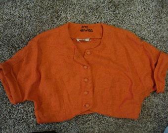 WOVEN BOLERO JACKET rich reddish orange cropped shrug S