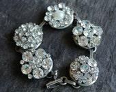 Antique Button Bracelet, vintage rhinestone butons