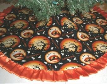 "Halloween Tree Skirt - 47"" - Full Moons & Jackolanterns"