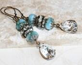 Boho Glam Dangling Earrings, Swarovski Teardrop Earrings, Sky Blue Earrings, Blue Picasso Czech Glass