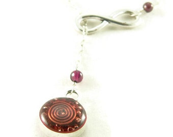 Orgone Energy Infinity Lariat Necklace in Antique Silver Finish with Garnet Gemstone - Orgone Energy Necklace - Dainty Necklace