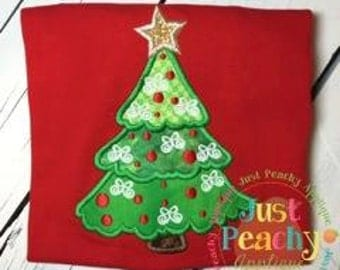Traditional Christmas Tree Machine Embroidery Applique Design