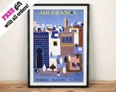 MOROCCO ALGERIA TUNISIA: Vintage Africa Travel Poster, Blue Art Print Wall Hanging