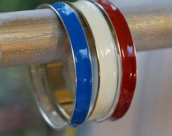 Vintage Bangles - stack of three vintage bangles - enamel on metal - colors red, blue cream - listing is for all three ban...