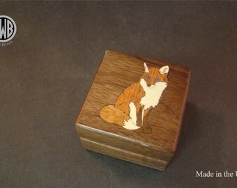 Sitting Fox Inlaid Ring Box.  RB-94  Free shipping and engraving.