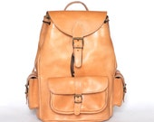 13 inches laptop backpack / Extra tall large leather backpack with side pockets / Women/Men natural (tan) leather backpack