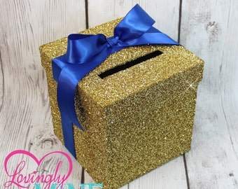 Mini Card Cardbox -  Glitter Gold and Royal Blue, for Any Event - Advice Cards, Raffles, Money Box, Wishing Well