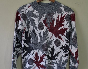Vintage 80s Sweater - Ugly Sweater - Leaf Sweater - Boys Sweater - Boys Large - Bellocco