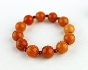 Carnelian Bracelet - FREE Shipping in USA - Natural Bracelet, Orange, Healing Bracelet, Carnelian Beads, Portland, OR