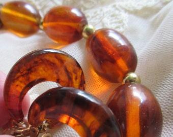 Bakelite Necklace Earrings Set Mid Century Rootbeer Swirl Choker Signed Trifari Vintage Costume Jewelry Fall Colors MoonlightMartini