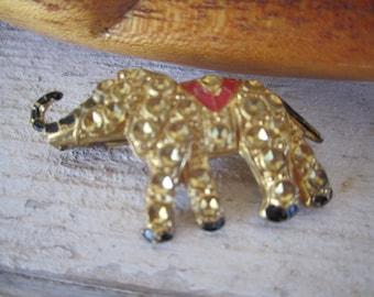 Elephant Pin Vintage Czechoslovakian  Gold tone Brooch