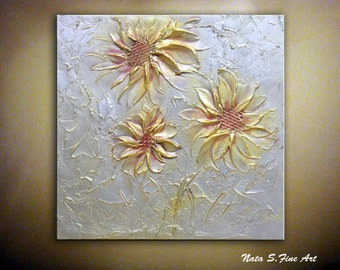 """Original Abstract Metallic Flower Painting Palette Knife Heavy Textured Silver Gold Painting 12"""" x 12"""" Modern Wall Decor by Nata S."""