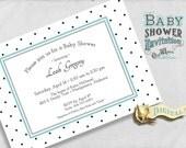 Black and White Baby Shower Invitation - Sweet Polka Dots - Custom Printable Gender Neutral Baby Shower Invite - 5x7 Digital JPEG or PDF