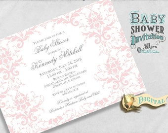 Pink Damask Baby Shower Invitation for a Girl - Pink and White, Cottage Chic - Elegant Printable Baby Girl Shower Invites 5x7 Digital File