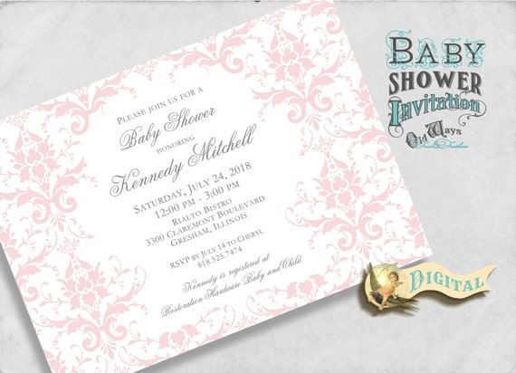 Pink Damask Elegant Girl Baby Shower Invitation Pink and White - Cottage Chic Printable Baby Shower Invites 5x7 Digital JPEG or PDF File