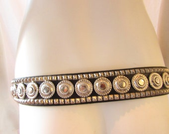 Black Western Belt silver detail Western /Cowboy/ Parade leather size 34 Equestrian