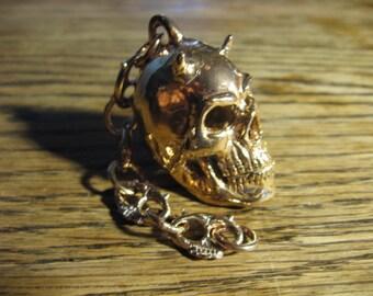 Bronze Horned Motorcycle Spirit Guardian Skull Bell